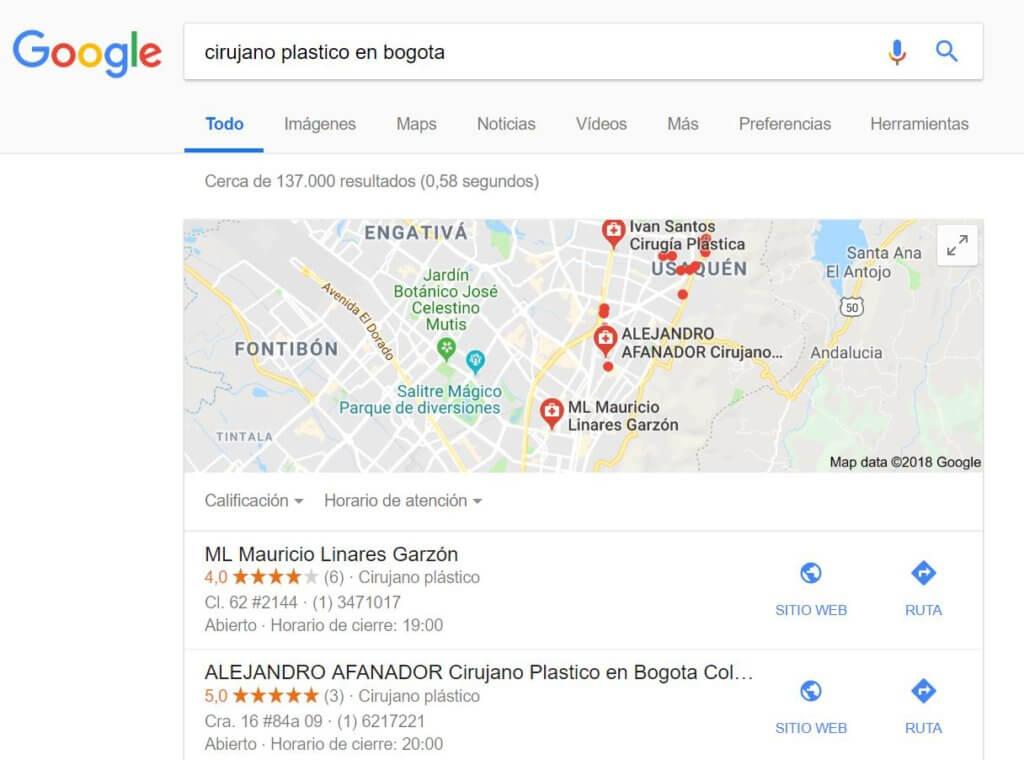 Resultados de búsqueda en mapa de Google