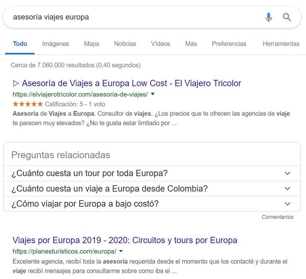 Posicionamiento en primera posición de Google para la palabra clave